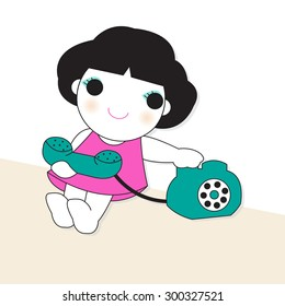 Trying To Make A Phone Call illustration