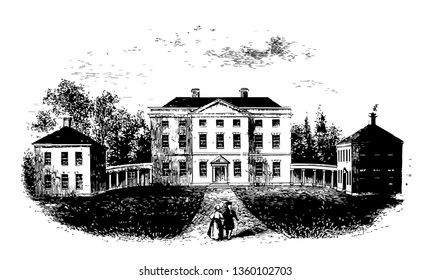 Tryon Palace also known as Governor's Palace, New bern was the administrative headquarter and official residence of British Governors of North Carolina from 1770-1775 vintage line drawing.
