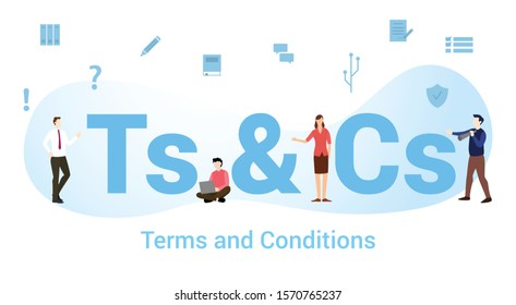 ts & cs terms and conditions concept with big word or text and team people with modern flat style - vector