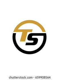 TS initial circle logo template vector