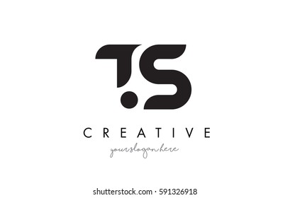 TS Letter Logo Design with Creative Modern Trendy Typography and Black Colors.