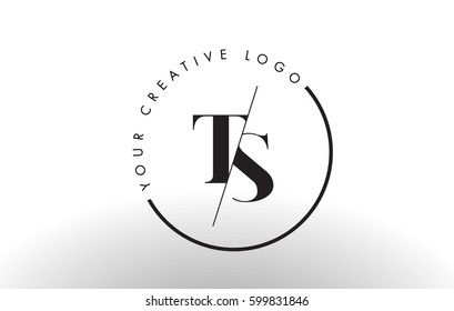 TS Letter Logo Design with Creative Intersected and Cutted Serif Font.