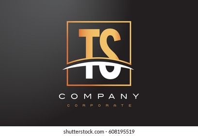 TS T S Golden Letter Logo Design with Swoosh and Rectangle Square Box Vector Design.