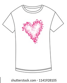 T-shirt abstract drawing of heart. Heart print for T-shirt. Heart for Valentine's Day. T-shirt with heart made of squares.