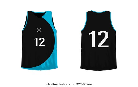 T-shirt blue and black basketball or football template for team club on white background. Jersey sport, vector illustration eps 10.