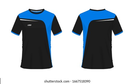 T-shirt blue and black soccer or football template for team club on white background. Jersey sport, vector illustration eps 10.