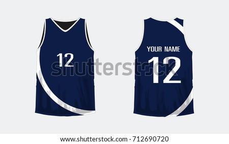 tshirt blue white basketball football template stock vector royalty