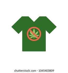 T-shirt with Cannabis leaf icon in prohibition red circle. No Marijuana, no drugs.Tee shirt template. Forbidden sign isolated on white background. Vector.