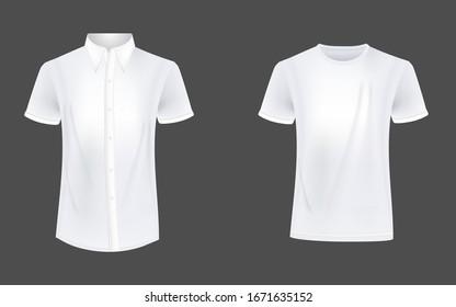 T-shirt and causual shirt mockup vector
