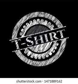 T-Shirt chalk emblem written on a blackboard. Vector Illustration. Detailed.