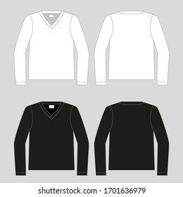 T-shirt. Clothing for women and men. Set of color unisex long sleeve t-shirts. Rear and front view. Basic clothes in casual style. Vector illustration