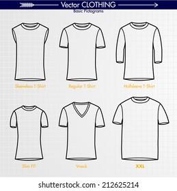 T-Shirt Collection. Sleeveless, Regular, Long Sleeve, Slim Fit, V-Neck, XXL. Outlines Only Vector Art Illustration