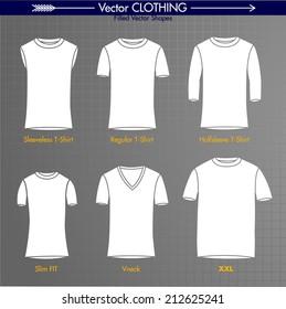 T-Shirt Collection. Sleeveless, Regular, Long Sleeve, Slim Fit, V-Neck, XXL. Basic Filled Shapes