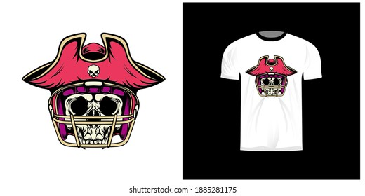t-shirt design with american football pirate skull illustration