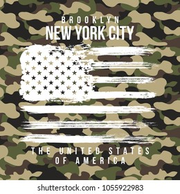 T-shirt design with camouflage texture. New York City typography with slogan for shirt print. T-shirt graphic in street military style. Vector