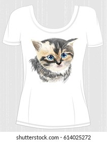 t-shirt design  with face of three-colored  cute kitten. Design for women's t-shirt
