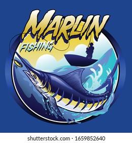 t-shirt design of fishing marlin at the sea