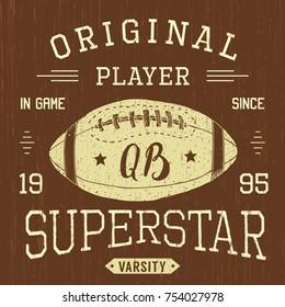 T-shirt design, Football quarterback superstar typography graphics, vector illustration .
