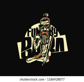 T-shirt design Funky baba - Yogi Holding a Joint or Cigarette, vector illustration