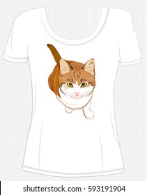 t-shirt design  with  ginger cat. Design for women's t-shirt