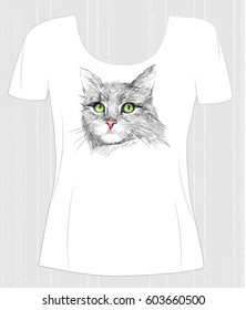 t-shirt design  with green-eyed cat. Design for women's t-shirt