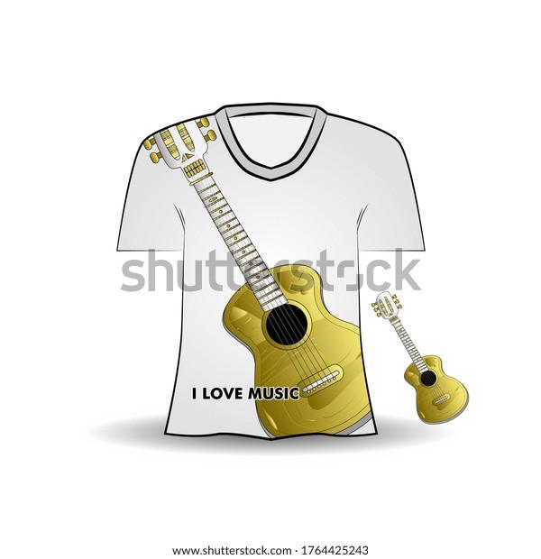 t-shirt design with guitar illustration. Kids apparel vector design