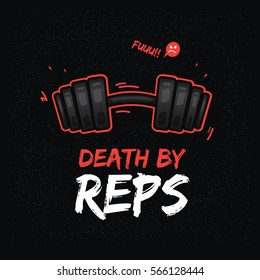 T-shirt design with heavy dumbbell. Weightlifting theme.