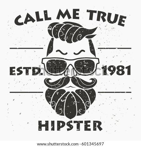 0af8b306 T-shirt Design, Hipster, Retro style grunge print, typography emblem  template. Vector - Vector