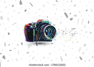 t-shirt design with a logo of a camera. 3d printed design DSLR camera logo. vector illustration