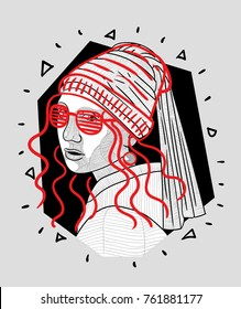 T-Shirt Design & Printing, clothes, bags, posters, invitations, cards, leaflets etc. Vector illustration hand drawn. Girl with a Pearl Earring.