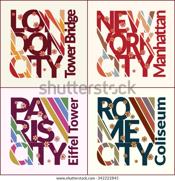 Tshirt Design Set Fashion Capitals Typography Stock Vector Royalty Free 342222845