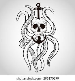 T-shirt design. Skull with octopus and anchor in a tattoo style.
