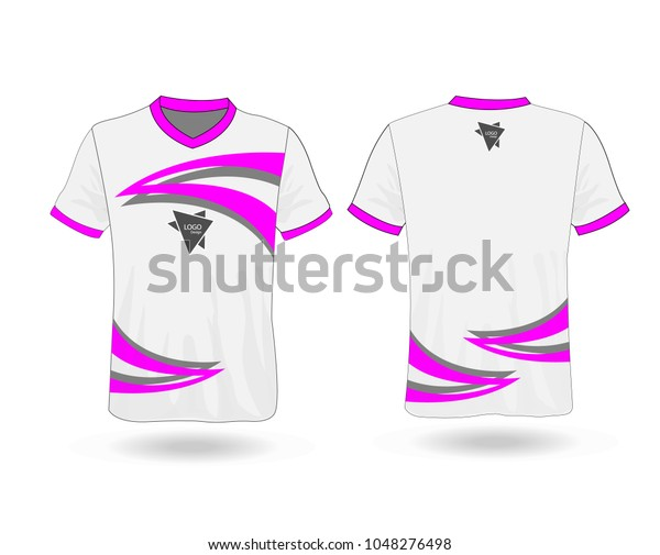 7d521cdf T-shirt design sport with Pink stripe and logo Template for design on white  background