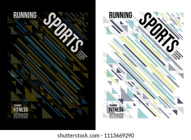 t-shirt design sports running fitness wear with line art on black and white background