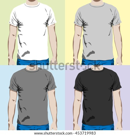 c796a5b2 t-shirt design template on a man. t shirt shapes set in gray colors. Vector  illustration. flat design. tshirt mockup. - Vector