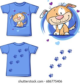 t-shirt with dog - cute vector illustration design