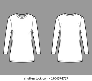 T-shirt dress technical fashion illustration with crew neck, long sleeves, mini length, oversized, Pencil fullness. Flat apparel template front, back, white color. Women, men, unisex CAD mockup