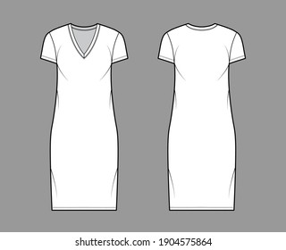 T-shirt dress technical fashion illustration with V-neck, short sleeves, knee length, oversized body, Pencil fullness. Flat apparel template front, back, white color. Women, men, unisex CAD mockup