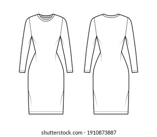 T-shirt dress technical fashion illustration with crew neck, long sleeves, knee length, slim fit, Pencil fullness. Flat apparel template front, back, white color. Women, men, unisex CAD mockup