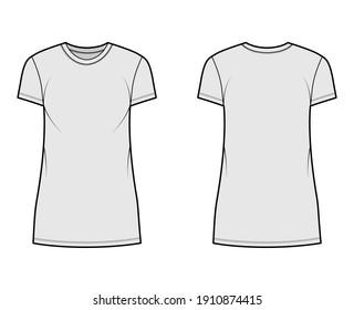 T-shirt dress technical fashion illustration with crew neck, short sleeves, mini length, oversized, Pencil fullness. Flat apparel template front, back, grey color. Women, men, unisex CAD mockup