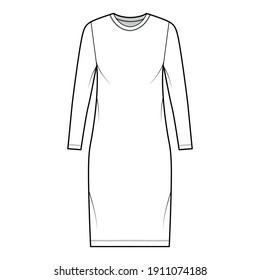 T-shirt dress technical fashion illustration with crew neck, long sleeves, knee length, oversized, Pencil fullness. Flat apparel template front, white color. Women, men, unisex CAD mockup