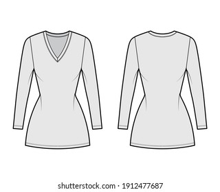 T-shirt dress technical fashion illustration with V-neck, long sleeves, mini length, fitted body, Pencil fullness. Flat apparel template front, back, grey color. Women, men, unisex CAD mockup