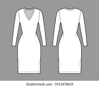 T-shirt dress technical fashion illustration with V-neck, long sleeves, knee length, fitted body, Pencil fullness. Flat apparel template front, back, white color. Women, men, unisex CAD mockup