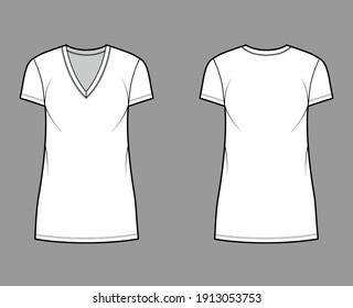 T-shirt dress technical fashion illustration with V-neck, short sleeves, mini length, oversized body, Pencil fullness. Flat apparel template front, back, white color. Women, men, unisex CAD mockup
