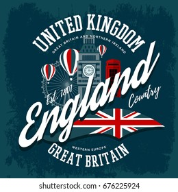 T-shirt with england or britain, united kingdom print. Big ben clocks and ferris wheel, flag and balloons label. Northern ireland travel or tourism advertising, cloth branding emblem, west europe sign