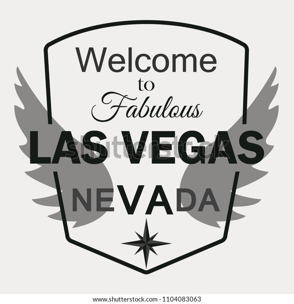 T-shirt graphics, typography. Las Vegas, Nevada. Rose of Wind. Wings. Vector.