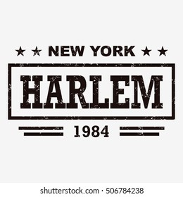 T-shirt graphics, typography. New York, Harlem. Grunge. Vector.