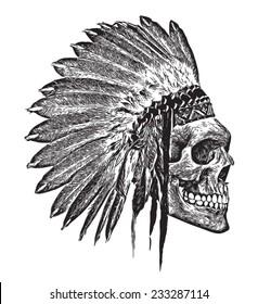 t-shirt graphics/Indian Headdress/skull illustration/skull poster/skull tattoo graphic/black and white skull and crossbones graphic