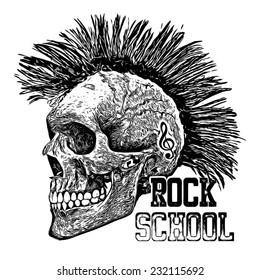 T-shirt Graphics/skull print/skull illustration/evil skull/concert posters/rock and roll themed graphic/Human skull for horror or halloween design/T-shirt graphics for textile
