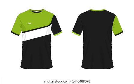 T-shirt green and black soccer or football template for team club on white background. Jersey sport, vector illustration eps 10.